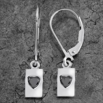 solitaire earrings with a rectangular pendant set with a black heart cut diamond dangling from drip-shaped clips