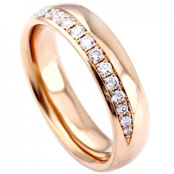 wedding ring slightly rounded completely acclivously half set with brilliants