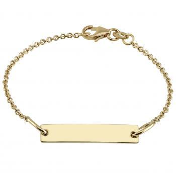 baby bracelet with an rectangular plate on a flatted rolo chain with in between a ring on 2cm (exclusive engraving)