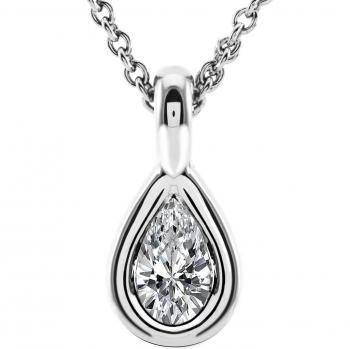 solitaire pendant with a pear shaped diamond set in a loop