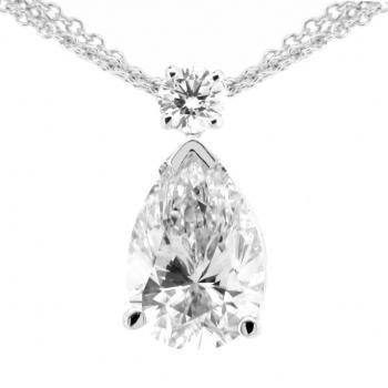 solitaire pendant with pear shaped diamond pending on a brilliant cut one