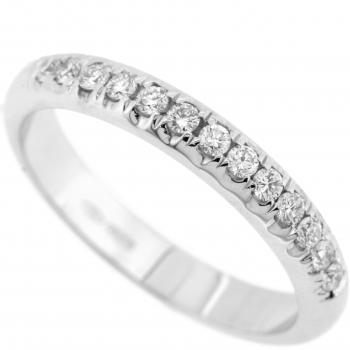 ring with a half rounded profile and castle set brilliant cut diamonds
