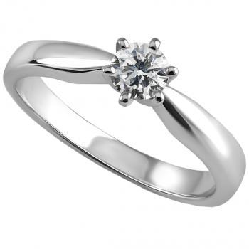 solitaire ring brilliant cut diamond in tiffany 6 prongs on a narrowing band towards the setting