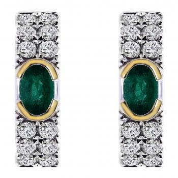 creole earrings with oval emeralds around which pavé set brilliant cut diamonds