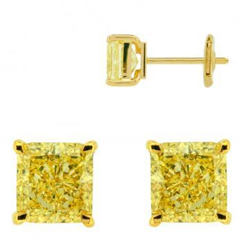 earrings solitaire with  fancy yellow cushion cut diamonds set with four claws with alpa system