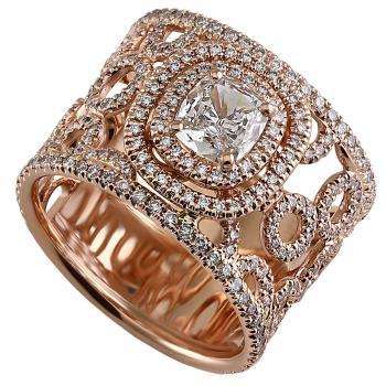 ring with small rings and central diamond cushion set in double entourage