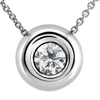 handmade pendant with a brilliant cut diamond set in a round donut with a baté on the back and mounted on a forca necklace with an extra ring at 1cm