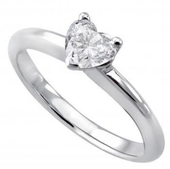 solitaire ring with a heartshaped diamond 5,13x 4,86 x 2,62 bolligere band
