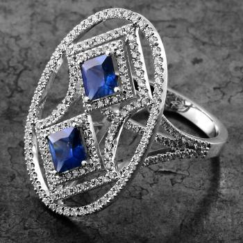 toi et moi ring with two square cut sapphires and brilliant cut diamonds castle pavé set