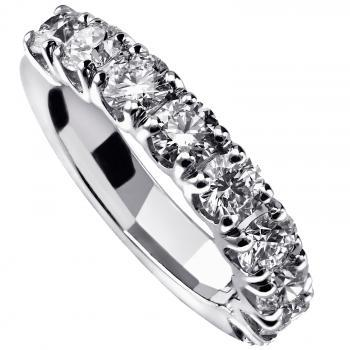 alliance ring or wedding band with round brilliant cut diamonds set in four V-shaped prongs