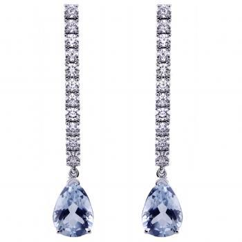 earrings with a row of brilliant cut diamonds ending with pear shaped aquamarines