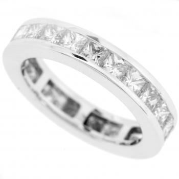 wedding ring diamond band complete princess-cut