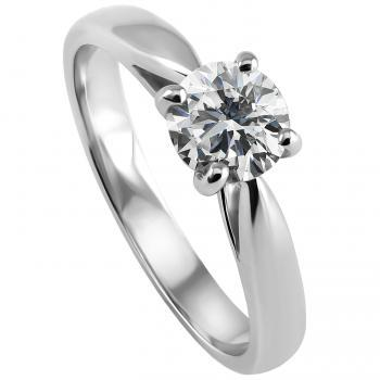 solitaire ring with a brilliant cut diamond brilliant set with four claws between a band with palmets