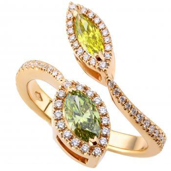 toi et moi entourage ring with colour enhanced marquise shaped diamonds surrounded by smaller brilliant cut diamonds