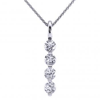 pendant with four brilliant cut diamonds set in a row with one prong between each diamond