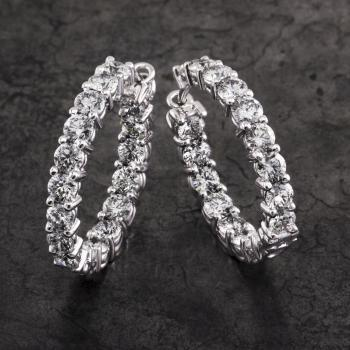 creole earrings with front and inner side set with brilliant cut diamonds in between two claws on double roundels