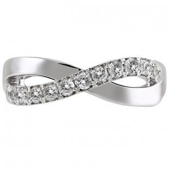 pavé ring with crossed or braided and bended bands set with brilliant cut diamonds