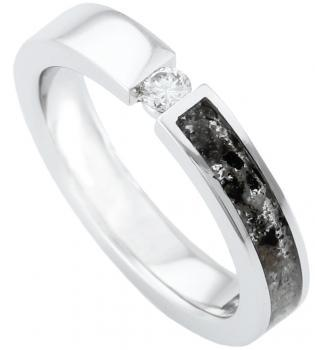 urn wedding ring with resin which axes with a central brilliant cut diamond