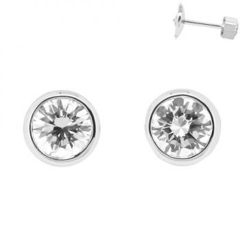 earrings with brilliant cut diamonds bezel set in pots with thin setting and alpa system