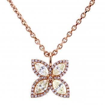 flower pendant with 4 marquise cut diamonds surrounded by smaller brilliants