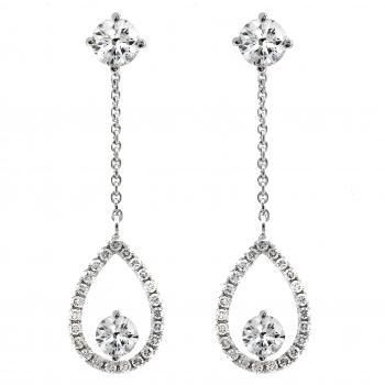 solitaire earrings with a central brilliant cut diamond and a removable chain with a pear-shaped pendant set with castle set diamonds