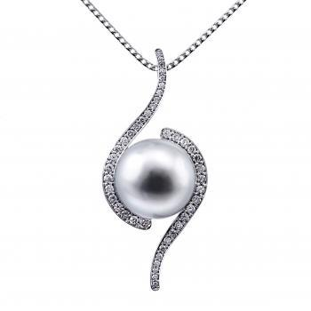 pearl pendant with a South Sea pearl embraced with brilliant cut diamonds pavé set with an engraving or fillet