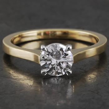 handmade solitaire ring with a brilliant cut diamond set into four slightly roundned prongs on a band with palmets (wearable together with wedding band)