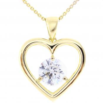 solitaire pendant with a brilliant cut diamond set in a heart shape with three prong