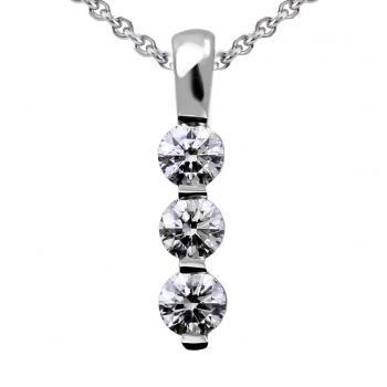 trilogy pendant with three brilliant cut diamonds set in a row with one prong between each diamond