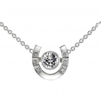 necklace with a horseshoe with therebetween a brilliant cut diamond set in a bezel setting and beside set with smaller round diamonds surrounded by a square engraving