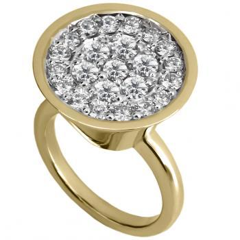 ring with an inverted truncated cone slightly straighter pavé set with brilliant cut diamonds at the top