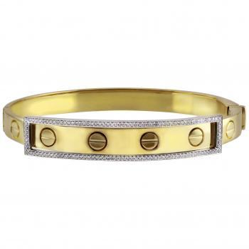 slim bangle bracelet with screws-look-alikes worked into the band on which a frame with brilliant cut pavé set diamonds