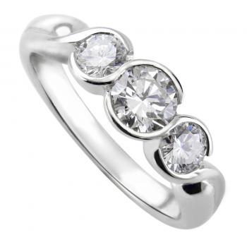 trilogy ring with brilliant cut diamonds set in round bezel settings