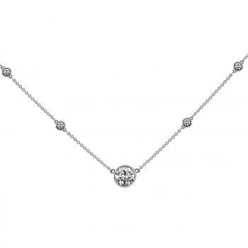 thinner rolo necklace with a lager bezel set brilliant cut diamond flanked by donut set smaller brilliants