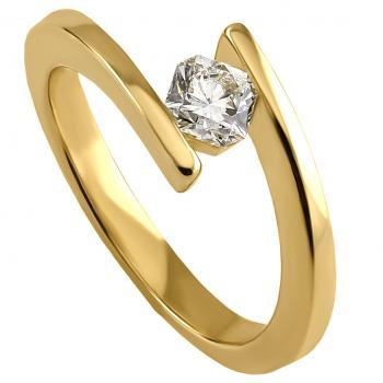 solitaire tension ring with a brilliant cut diamond hold in between straight legs