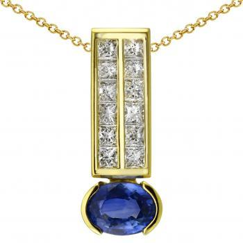 pendant bar set with a double row of princess cut diamonds under wicht an oval sapphire in an open closet