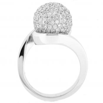 pavé ring with a bead set with brilliant cut diamonds