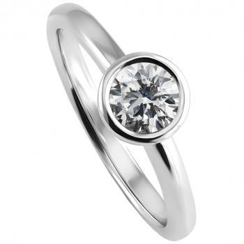 handmade solitaire ring with a brilliant cut diamond set in a bowl with a thinner edge with left and right a soy garnish and integrated as low as possible in the band