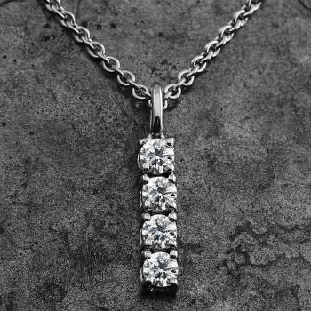 pendant with four brilliant cut diamonds set in four pongs pending on a small loop bracket inclusiv rolo chain and extra small ring on 2cm
