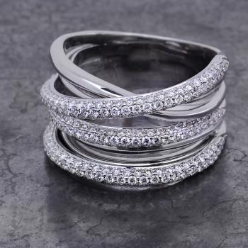 pavé ring with seven bollige  crossed bands with three pavé set with three lines of brilliant cut diamonds