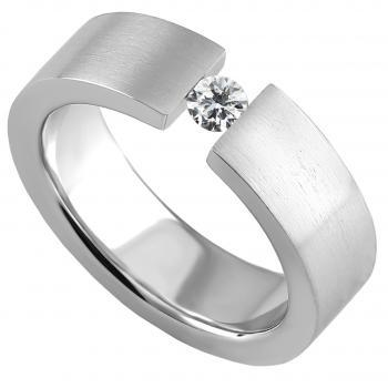 slim solitaire ring with a brilliant cut diamond set with a tension-set-look