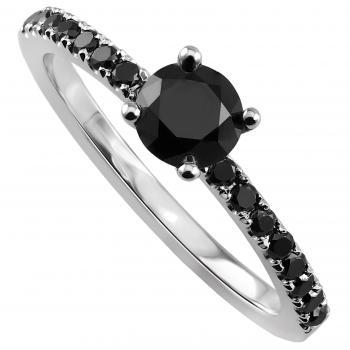 solitariering with a central black brilliant cut diamond set with four prongs on a castle set lower band