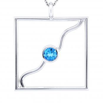 design pendant with topaz between a sling wire in a frame