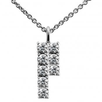 pendant with a double row of five and three brilliant cut diamonds set in four pongs pending on a small loop bracket inclusiv rolo chain and small ring on 2cm