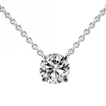 fine necklace solitaire pendant with a brilliant cut diamond set with four claws