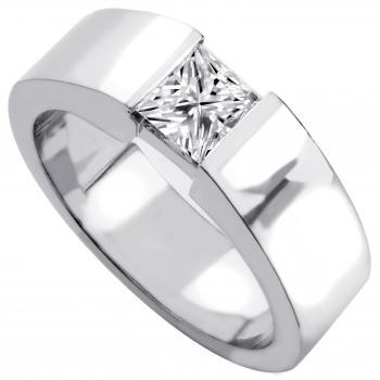 slim soltairering ring with a princess cut diamond