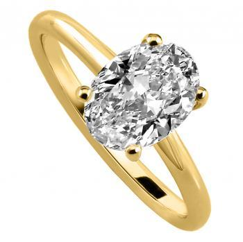 handmade solitaire ring with a larger oval cut diamond set in four prongs setting made of round wire and mounted between a low rounded band (can be combined with alliance)