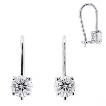 solitaire earrings with brilliant-cut diamonds set in a 4-prong basket mounted on a hook with small hook
