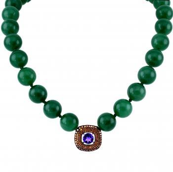 aventurine necklace with a central amethyst in a square rounded pendant set with HTHP colored diamonds