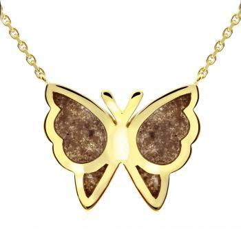 rolo necklace with a butterfly like an urn filled with axles mixed with resin